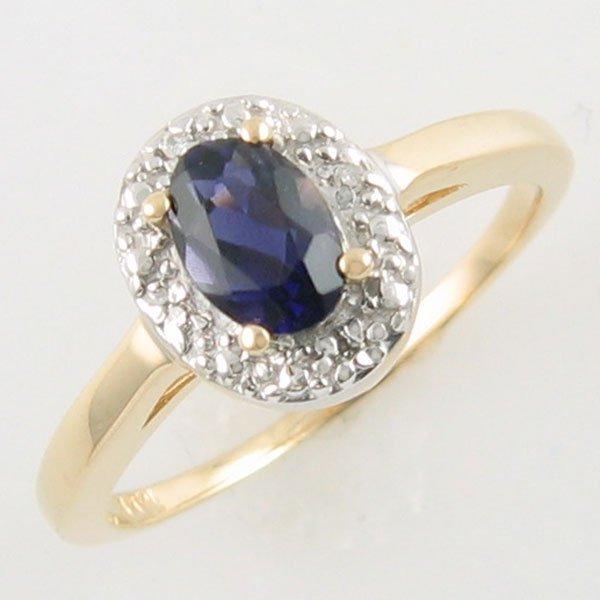 4045: 14KT IOLITE DIAMOND GOLD RING 0.42 TCW SIZE 6.5