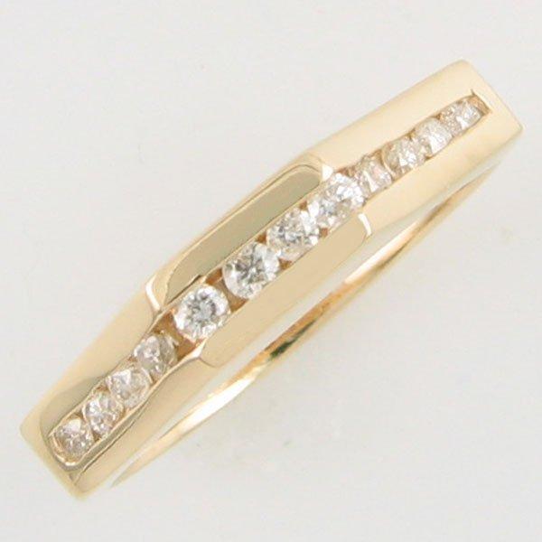 4081: 14KT .24 CT DIAMOND ANNIVERSARY GOLD RING SZ 6.75