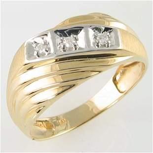 14KT MEN'S DIAMOND GOLD RING 0.09TCW SIZE 11.