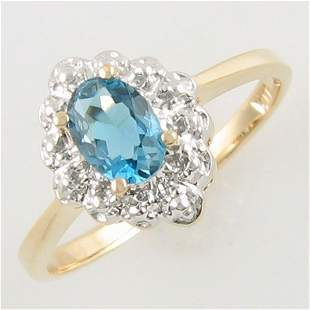 14KT BLUE TOPAZ GOLD RING 0.38 TCW SIZE 6.75