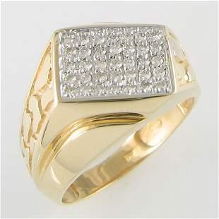 10 KT MEN'S DIAMOND GOLD RING 0.53TCW SIZE 11.25
