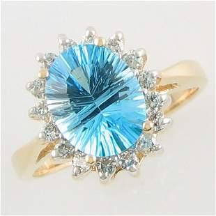 14KT 2.82 TCW DIAMOND BLUE TOPAZ GOLD RING SZ 5.7