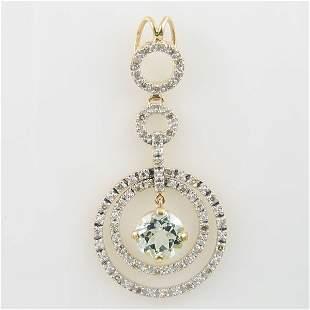 14KT AQUAMARINE DIAMOND GOLD PENDANT 1.12 TCW