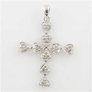 14KT DIAMOND CROSS PENDANT 0.14 TCW WHITE GOLD