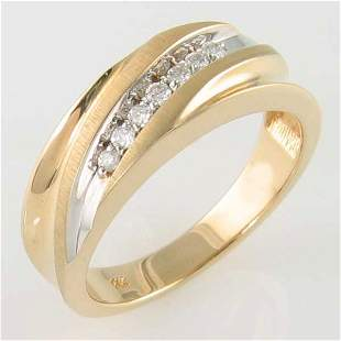 14KT MEN'S DIAMOND GOLD RING 0.14TCW SIZE 10.25