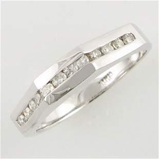 14KT .24 CT DIAMOND ANNIVERSARY GOLD RING SZ 6.75