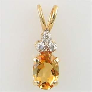 14KT CITRINE DIAMOND GOLD PENDANT 0.59TCW