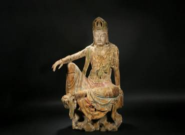 Wooden Seated Guanyin in Tang Dynasty