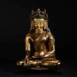 Gilt Bronze Buddha Statue in Qing Dynasty