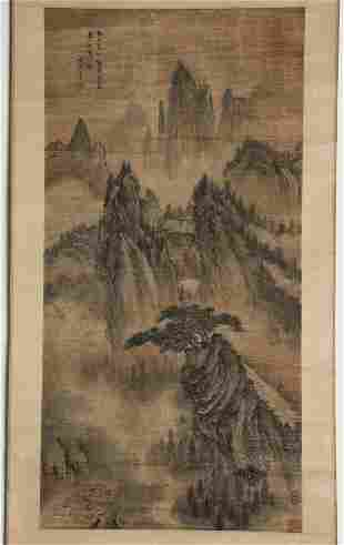 Chinese ink painting, landscape of Wang Yu