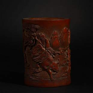 Bamboo carving pen holder in Qing Dynasty