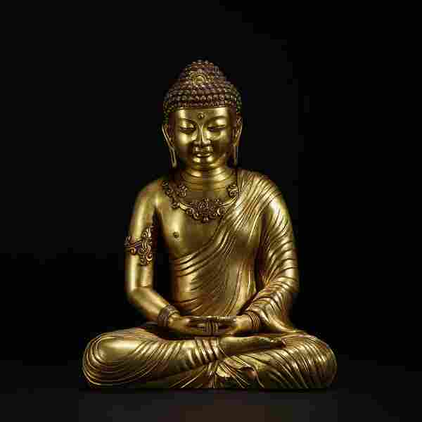 Seated gilt bronze Buddha of the Qing Dynasty