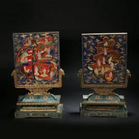 Cloisonne Lapis Fushou Interstitial in Qing Dynasty