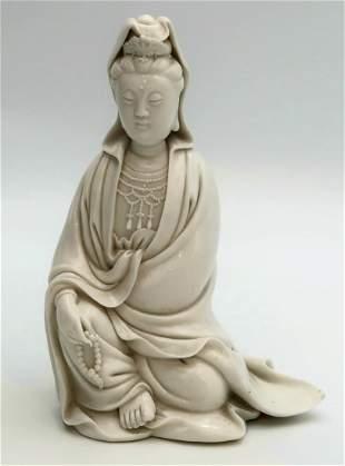 A Blanc de Chine Dehua seated figure of Guanyin