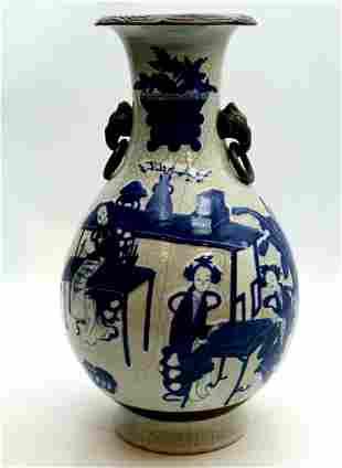 Tall Antique Chinese Blue & White Crackle Glazed Vase