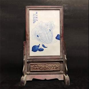 A Chinese Wangbu Style Blue and White Porcelain Table