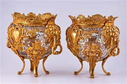 Pair of Baccarat Crystal vases with gold plated bronze