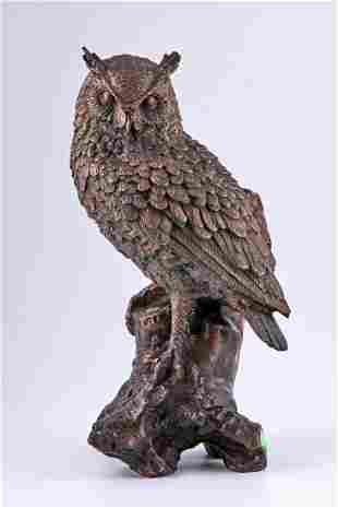 Art Deco patinated bronze sculpture of an owl by Dave
