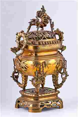 Patinated Chinese Temple incense burner in Gilt brass