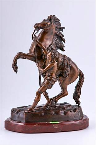 """Pair of 19th Century """"Cheval de Marly horse and Temper"""""""