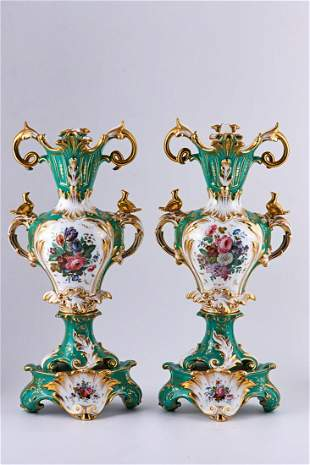 Pair of large Old Paris Porcelain vases