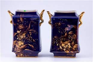 Pair of Limoges Cobalt Blue vases