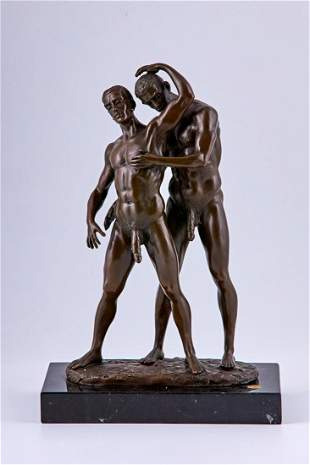 Bronze sculpture of two nude lovers by Mavchi