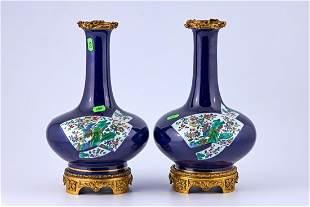 Pair of antique porcelain vases