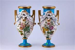 Pair of hand painted Jacob Petit porcelain vases