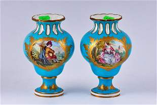 Pair of Sevres blue hand painted porcelain vases