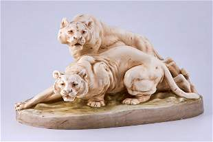 Porcelain minimalist sculpture of two tigers