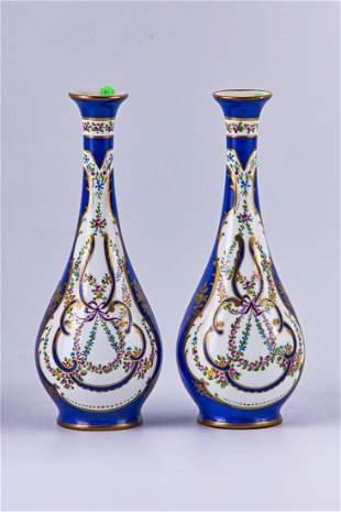 Pair of antique Limoges Cobalt blue vases