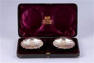 Pair of silver caviar trays by Jeames Deakin & Sons