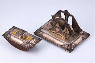 Art Deco wooden and silver postal products