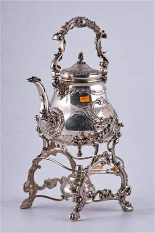 Antique silver water kettle