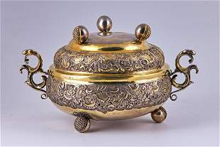 17th century gold plated silver, two piece meal tray.