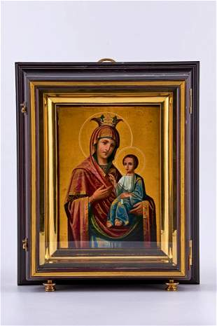 Tempera and gold hand painted Icon on birch wood