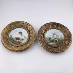 French 19th century faience wall decor plates