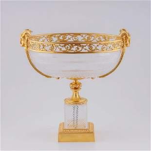 Large crystal fruit vase in gilded bronze setting