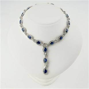 18K WHITE GOLD NECKLACE SET WITH Sapphires.