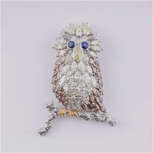 18K WHITE GOLD Diamond BROOCH DESIGNED AS AN OWL.