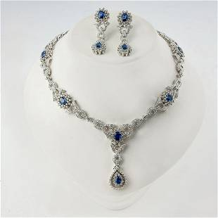 18K WHITE GOLD JEWELRY SET WITH Sapphires.