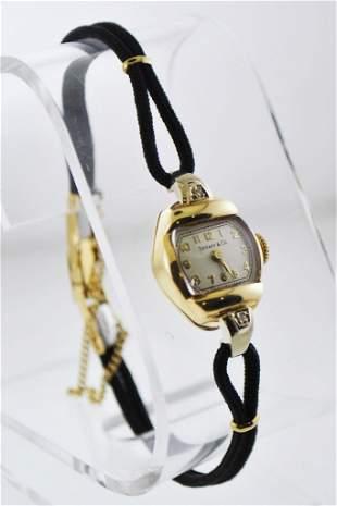 TIFFANY & CO. Solid YG Vintage Rhombus Wristwatch on