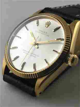 ROLEX Oyster Perpetual Wristwatch in 18K Yellow Gold w/