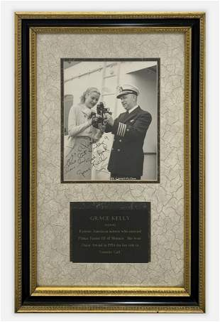 Grace Kelly Signed & Framed Photograph with Plaque c.