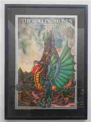KATE BURNESS Rare Rolling Stones Concert Poster, C.