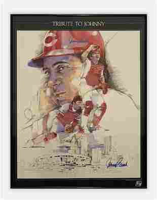 """""""Tribute to Johnny"""" Signed Print, Johnny Bench,"""