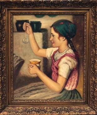"Rozsa Karoly ""Girl Blowing Bubble"", Original Painting"