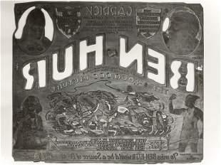"Original 1925 Engraved Lobby Card Plate for ""Ben-Hur"""