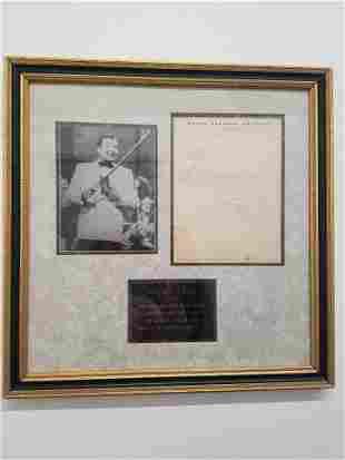Original Xavier Cugat Letter to Lou Diamond, c. 1939 -